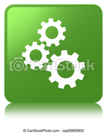 Gears icon soft green square button - csp50695902