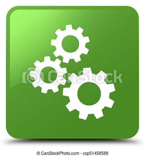 Gears icon soft green square button - csp51458589
