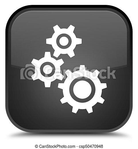 Gears icon special black square button - csp50470948