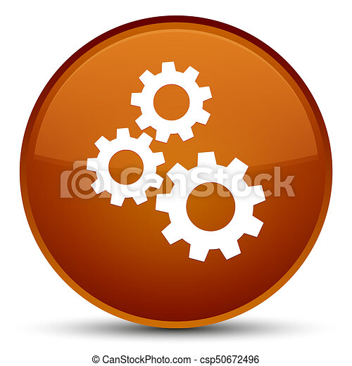 Gears icon special brown round button - csp50672496