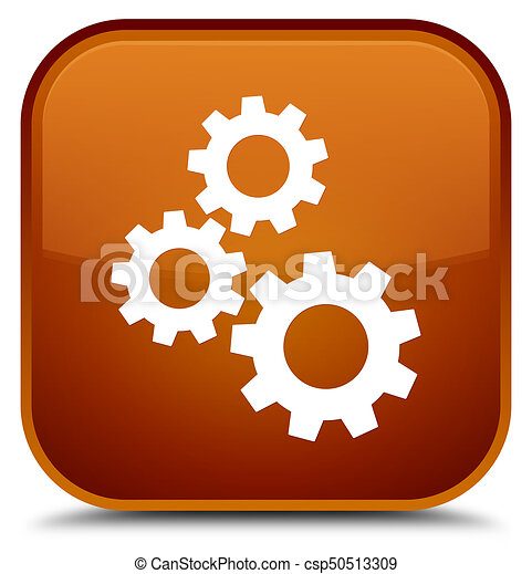Gears icon special brown square button - csp50513309