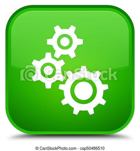 Gears icon special green square button - csp50486510