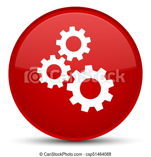 Gears icon special red round button - csp51464088