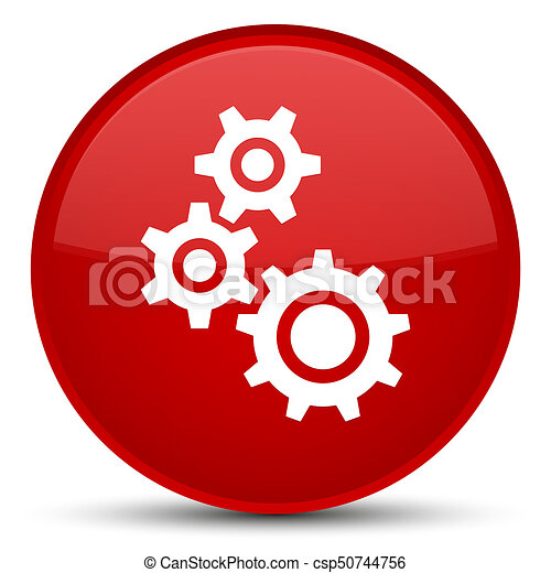 Gears icon special red round button - csp50744756