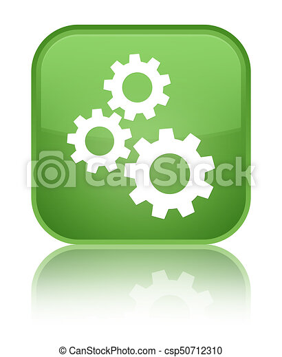Gears icon special soft green square button - csp50712310