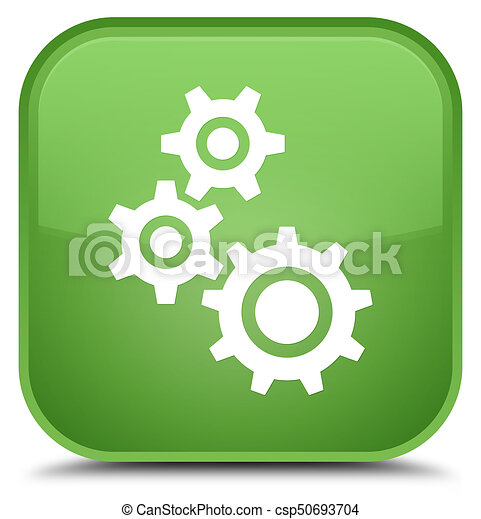Gears icon special soft green square button - csp50693704