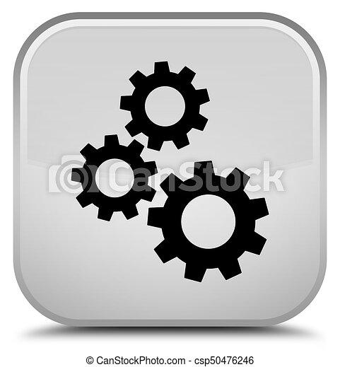 Gears icon special white square button - csp50476246