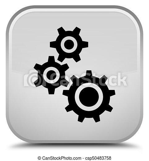 Gears icon special white square button - csp50483758
