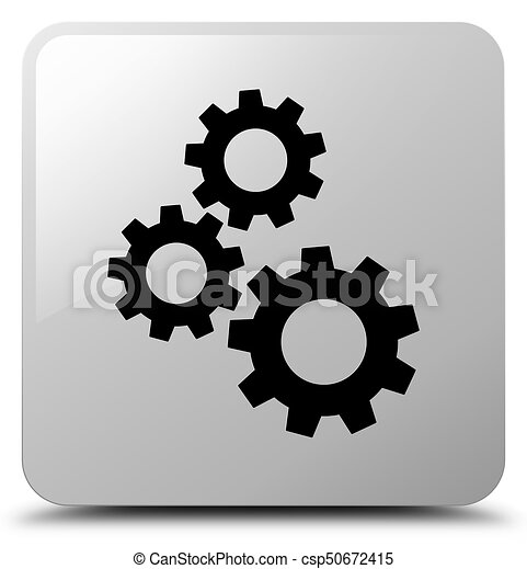 Gears icon white square button - csp50672415