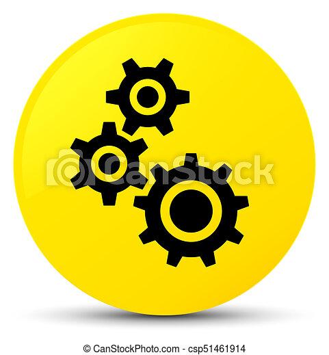 Gears icon yellow round button - csp51461914