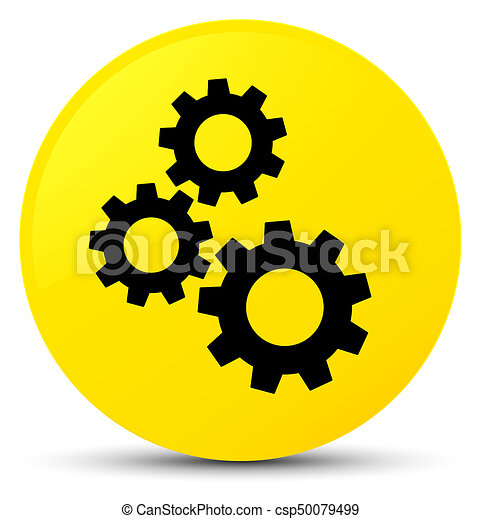 Gears icon yellow round button - csp50079499