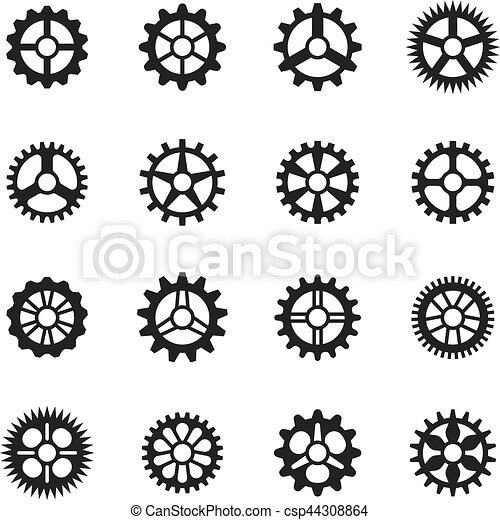 Vector clock gears  outline icons set clock or machine wheel
