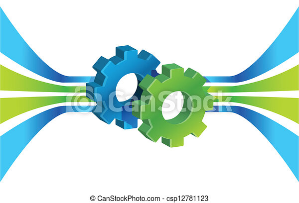 Gears in motion and lines, business process - csp12781123