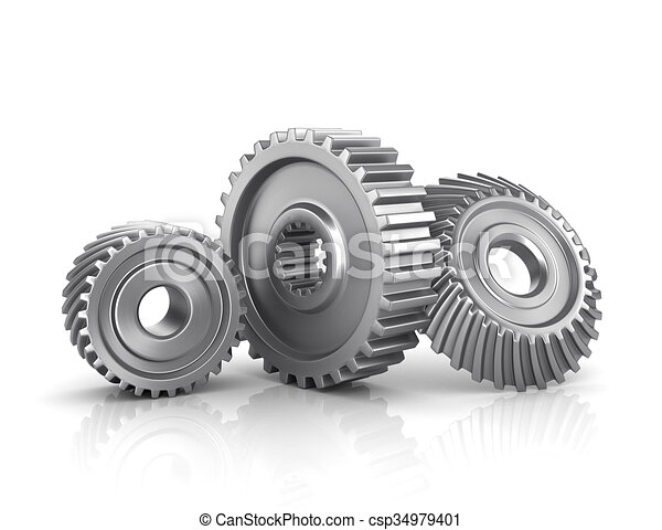 Gears isolated on a white - csp34979401