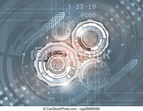 Gears on abstract vector background - csp28689068
