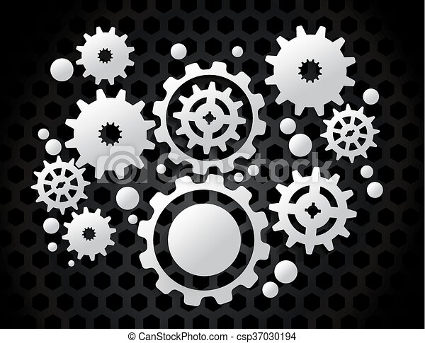 Gears on Black Background - csp37030194