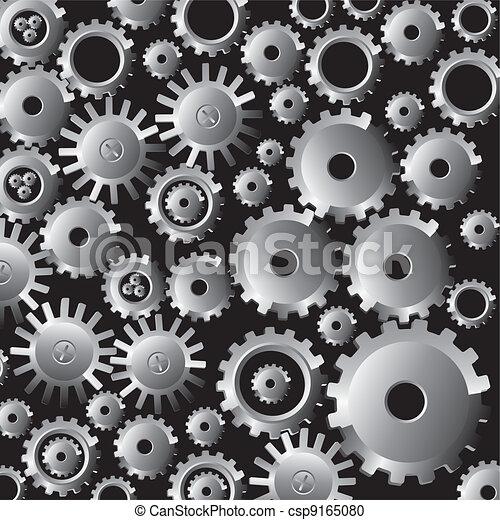gears on black  - csp9165080