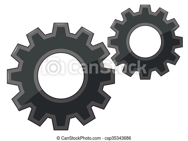 Gears on white background - csp35343686