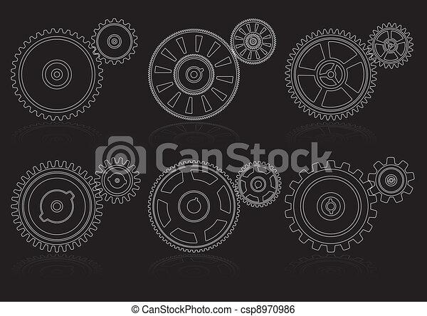 Line Art Vector Illustrator : Vector illustrator of gears outline set a clip art search