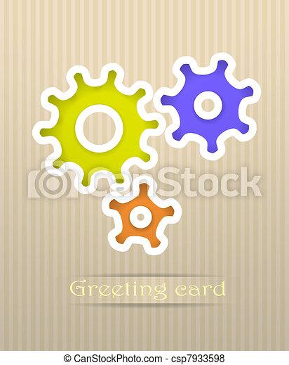 Gears postcard vector illustration - csp7933598