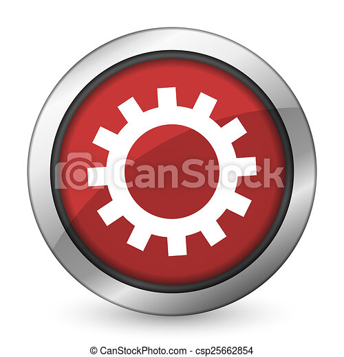 gears red icon options sign - csp25662854