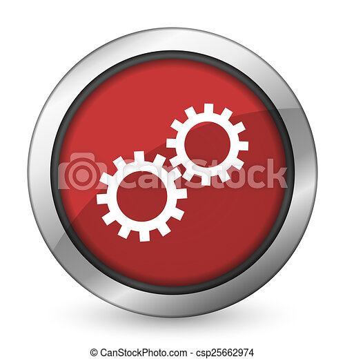 gears red icon options sign - csp25662974
