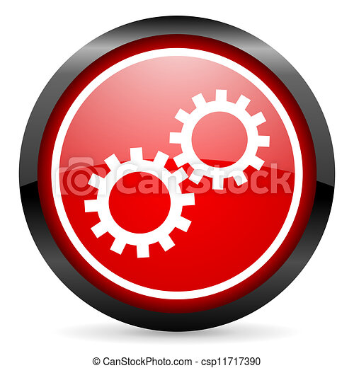 gears round red glossy icon on white background - csp11717390