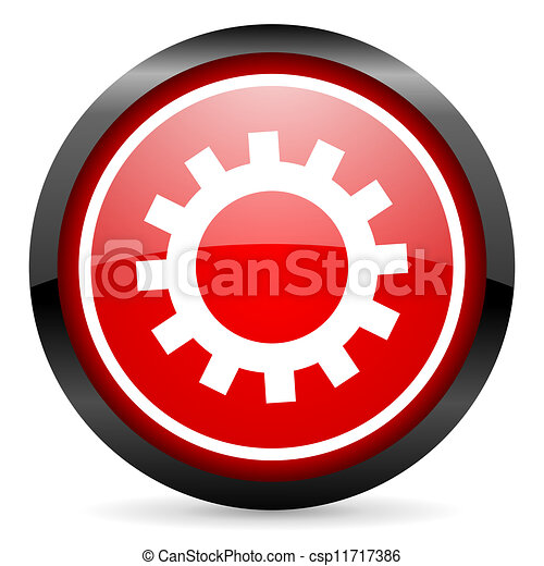 gears round red glossy icon on white background - csp11717386