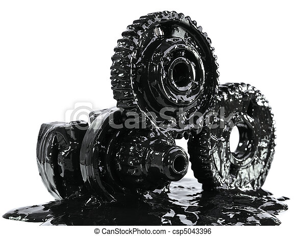 Gears soiled with black oil - csp5043396