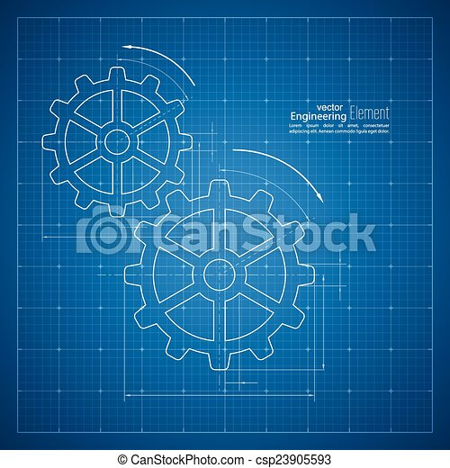 Paper blueprint background gears symbol on the drawing eps gears symbol on the drawing paper csp23905593 malvernweather Choice Image