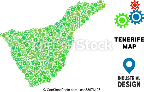 Small Map Of Spain.Gears Tenerife Spain Island Map Composition