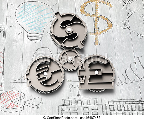 Gears With Dollar Sign Pound And Euro Symbol On Doodles Wall