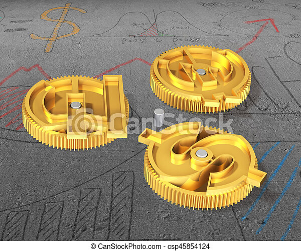 Gears With Golden Dollar Sign Pound And Euro Symbol On Doodles