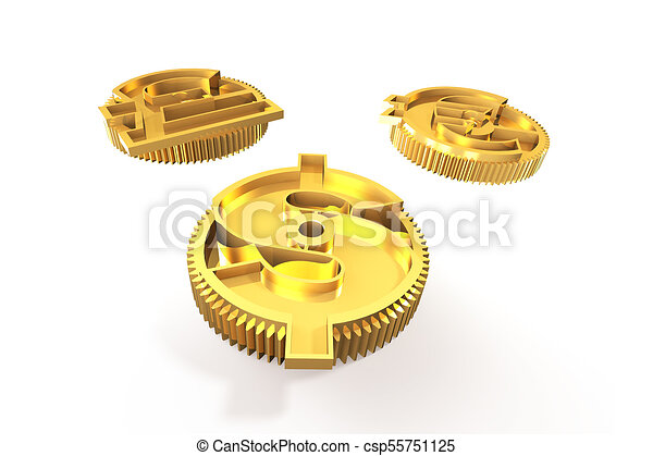 Gears With Golden Dollar Sign Pound Euro Symbol 3d Illustration