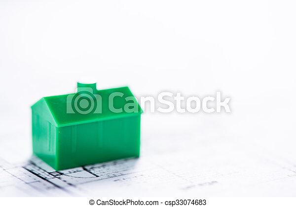 Charming Gebäude, Begriff, Haus, Architekt, Daheim, Modell, Plan   Csp33074683