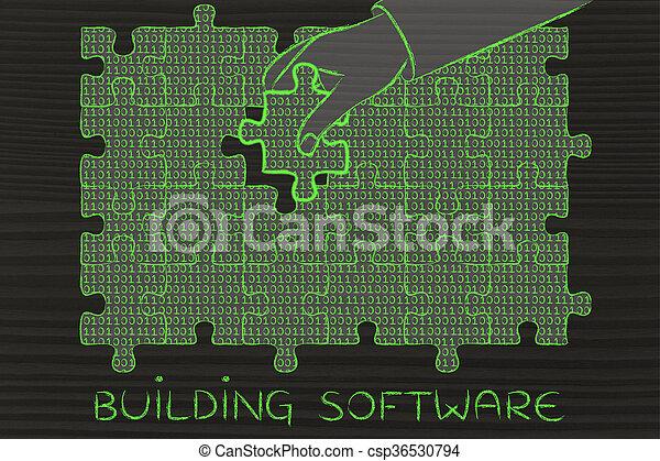 gebäude, binärer, fehlend, puzzel, hand, stück, code, software - csp36530794
