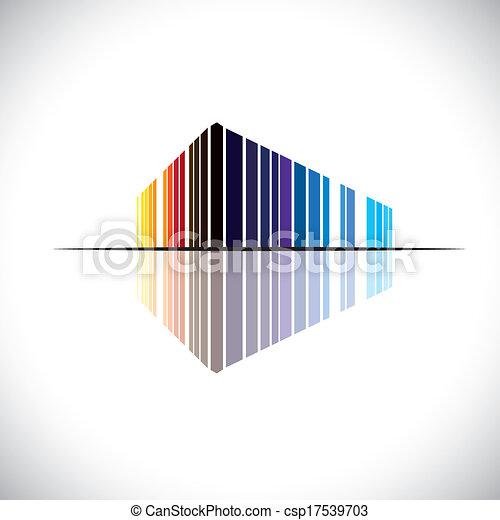 gebäude, blaues, buero, usw, dieser, gewerblich, graphic., modern, -, abbildung, mögen, orange, farben, vektor, architektur, schwarz, rotes , bunte, abstrakt, struktur, ikone - csp17539703