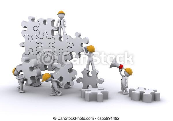 Geschäftsteam arbeitet an einem Puzzle. Unternehmensentwicklungskonzept. - csp5991492