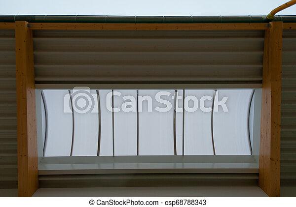 gebäude, holzbock, fabrik, dach, groß, bruchbänder - csp68788343