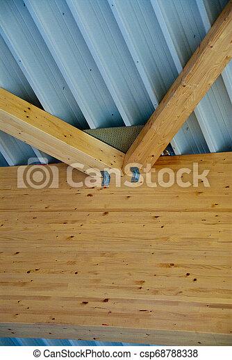 gebäude, holzbock, fabrik, dach, groß, bruchbänder - csp68788338