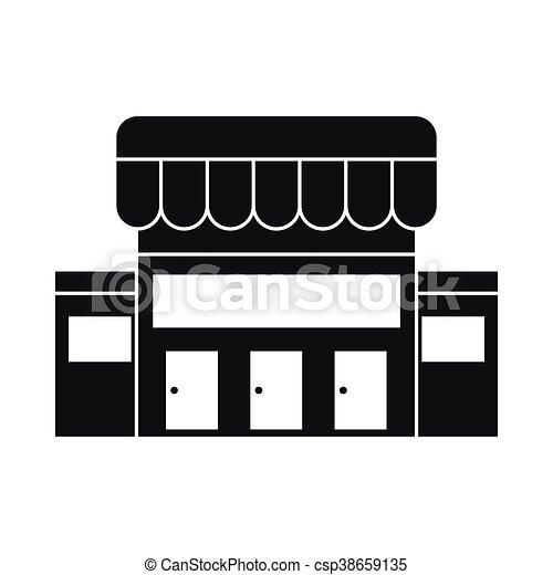Supermarkt gebäude clipart  Vektoren von gebäude, ikone, stil, supermarkt, einfache ...