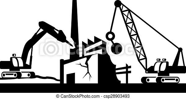Zerstörung von Industriegebäuden - csp28903493