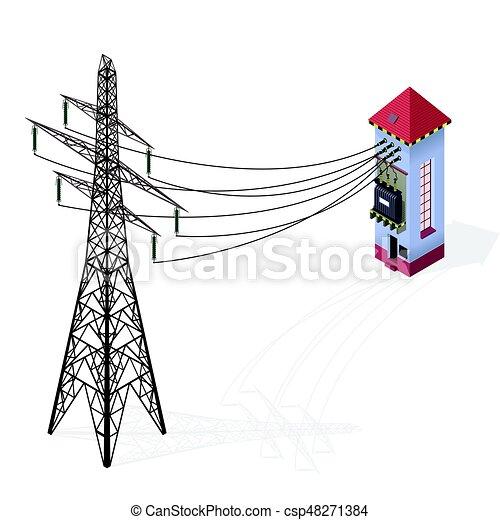 Gebäude, info, transformator, elektrische strom, elektrizität ...