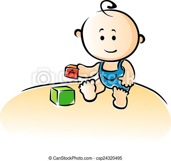 gebäude, reizend, blöcke, spielende , baby, karikatur - csp24320495