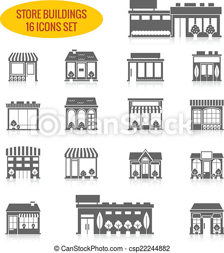 Store building icons set black - csp22244882