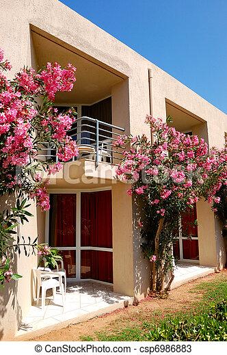 Gebaude Schone Hotel Blumen Griechenland Dekoriert Kreta