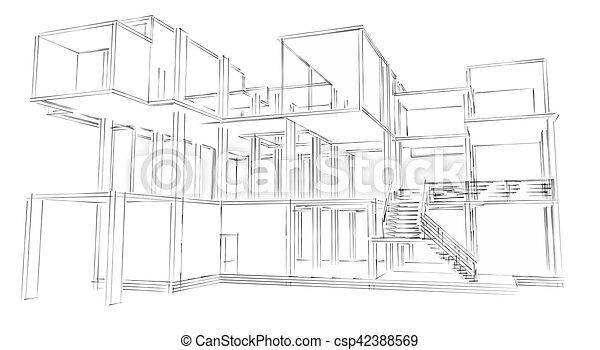 Gebaude Skizze Architektur