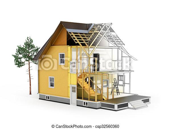 Gebaude Skizze Begriff Render Prozess Bestandteile Rahmen Ubergang Wir Dach Sehen Baum Architekt Model Haus Isolierung Baugewerbe 3d