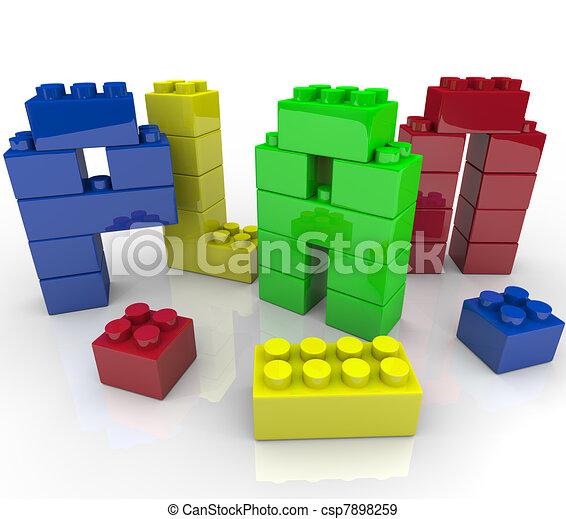 Planen Sie das Wort Spielzeugbausteine für die Baustrategie - csp7898259