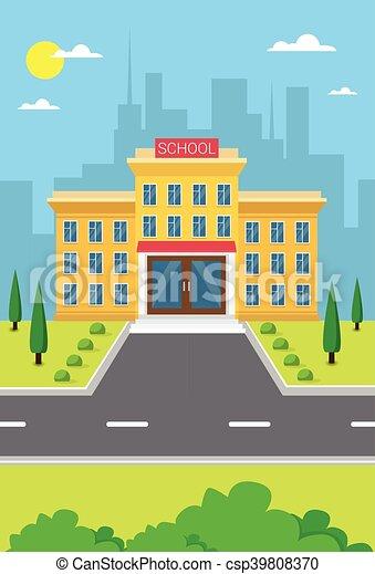 gebäude, stadt, schule, außen ansicht - csp39808370